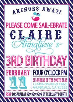 Wow, I never get sick of seeing my name spelled correctly in print! Sailor Girl Nautical Birthday Invitation. $18.00, via Etsy.