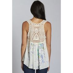 Printed Tank with Crochet Lace Yoke ❤ liked on Polyvore featuring tops, yoke top, crochet lace top and crochet lace tank top