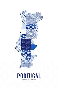 The Portugal Map Print combines the country's coordinates from the country's capital (Lisbon) with a silhouette of Portugal. The map is filled with a pattern inspired INSERT DESCRIPTION TEXT HERE. Thi