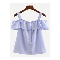94d0caf10f2e4b Blue Straps Vertical Striped Ruffle Shirt ( 14) ❤ liked on Polyvore  featuring tops