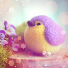 The pansies color matches so well with my needle felted bird!