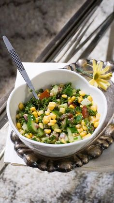 Kale tabbouleh with  cucumber and corn
