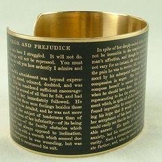 Jane Austen Pride and Prejudice Literary Brass Bracelet Cuff in Black. $40.00, via Etsy.  <3