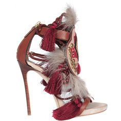 Dsquared2 Suede sandals with feathers featuring polyvore, fashion, shoes, sandals, heels, feather, multi, brown suede shoes, brown shoes, zipper sandals, heeled sandals and zip shoes