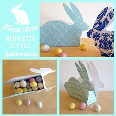 These cute little bunnies aren't just pretty, they're handy too as they'll hold little Easter treats. You can cut them from plain or textured Card Stock or patterned card. To make mine I sourced some free digital files and printed them out on plain white card with my home printer. Then I simply popped the…