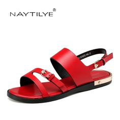 4047a3b6938f Women s sandals RED color 2017 Summer New model Flats shoes for woman PU  leather Size 36 41 Free shipping NAYTILYE-in Women s Sandals from Shoes on  ...