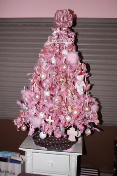 Dreaming of a marshmallow world with our pink tabletop tree!
