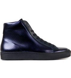 Navy high top minimal sneaker men's fashion shoes обувь и ке Mens Fashion Shoes, Fashion Boots, Sneakers Fashion, Raf Simons Shoes, Me Too Shoes, Men's Shoes, King Fashion, Shoe Sites, Leather Sneakers