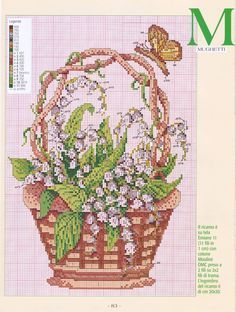 Basket of lilies of the valley cross stitch pattern (2) - free cross stitch patterns crochet knitting amigurumi