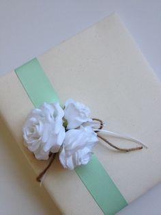 Mint Green Wedding Album - white roses, mint green grosgrain ribbon