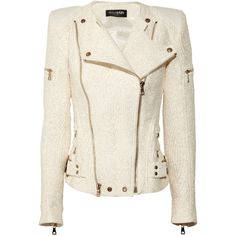 Balmain Coated-bouclé biker jacket ($2,960) ❤ liked on Polyvore featuring outerwear, jackets, coats, tops, balmain, boucle moto jacket, white zip jacket, balmain jacket and motorcycle jacket