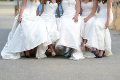 On the day of the shoot last July outside San Jose, California, they got their hair done together in the morning and made sure to wear their wedding-day shoes. | These Five Sisters Did A Photo Shoot To Thank Their Parents For Paying For All Of Their Weddings