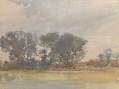 A relatively dark and minimalist watercolour by Archibald Knox (1864-1933) of a Manx landscape scene with the ruins of a farmhouse or cottage partially hidden amongst the trees. The artist is said to have painted his watercolour scenes in a few hours or less, but that he would also sit for hours waiting for the exact light and cloud formations that he wanted to paint.