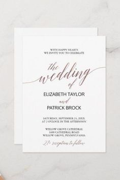 Elegant Rose Gold Calligraphy 21+ Wedding Invite. Click to customize with your personalized details today.