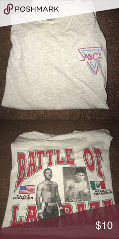 Vintage T shirt Vintage Boxing T shirt Oscar de la Hoya vs. Julio cesar Chavez. Used Fruit of the Loom Shirts Tees - Short Sleeve
