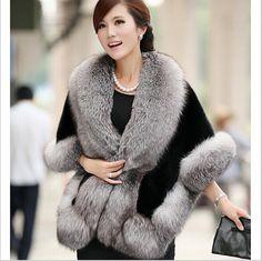 Buy from china:New 2015 Autumn Winter Leather grass fox fur mink rabbit fur poncho cape bridal wedding dress shawl cape women vest fur coat