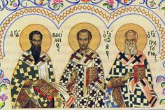 Jan 12 Synaxis Of The Three Hierarchs Basil the Great, Gregory The Theologian, And John Chrysostom Biological Anthropology, Greek Icons, John Chrysostom, Divinity School, University Of Southern California, Religious Studies, Holy Cross, Day Book, Orthodox Icons