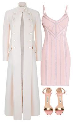 White & Pink by carolineas on Polyvore featuring polyvore, fashion, style, Hervé Léger, Temperley London, Manolo Blahnik and clothing