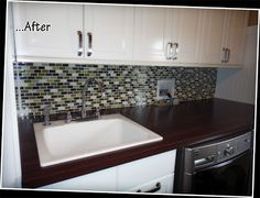 Kathleen says I gave her a honey do list this weekend - tile the laundry room back splash. Laundry Room Countertop, Kitchen Cabinets, Washroom, Countertops, Backsplash Ideas, January, House, Home Decor, Vanity Tops