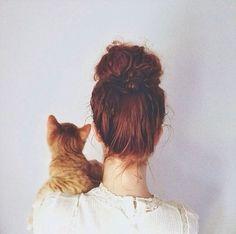 Image via We Heart It https://weheartit.com/entry/160611476 #cat #curly #heart #love #orange #white #women