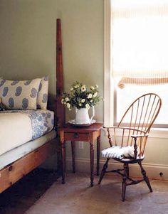 Windsor chair. Love that bed too!