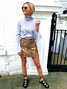Pandora Sykes of Pandora Sykes in a flutter sleeve knit top and center-zip skirt