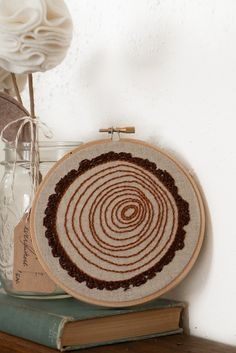 tree rings embroidery hoop