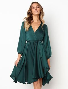Women Skater V Neck Wrap Irregular Midi Dress - Power Day Sale#minidresses #shortdresses #occationaldresses #nightout #summeroutfits #summercollection #mididresses #partywears #PDSFashion
