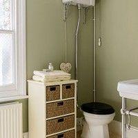 Sage green and cream bathroom
