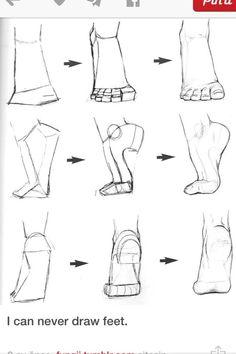 How to draw feet - Human anatomy - Drawing Reference Drawing Skills, Drawing Techniques, Drawing Tips, Sketching Tips, Drawing Artist, Sketch Drawing, How To Sketch, Dream Drawing, Pencil Drawing Tutorials