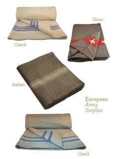 European Army Surplus Wool Blankets. Perfect for keeping in the car. (Plus, they're bargain priced!)