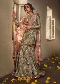 Gharara Designs, Lehenga Designs, White Wrap Dress, Off White Dresses, Formal Dresses, Dress Designs For Girls, Desi Wedding Dresses, Wedding Wear, Punjabi Dress