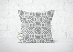 Grey Geometric Pillow Cover  Ribble Storm  Lumbar 12 by motion52
