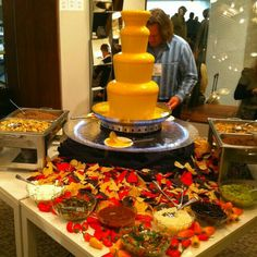 I love this idea of a nacho cheese fountain. I'm thinking of throwing a Mexi… I love this idea of a nacho cheese fountain. I'm thinking of throwing a Mexican food party! Cheese Fountain, Fondue Fountain, Wedding Food Stations, Mexican Food Recipes, Ethnic Recipes, Mexican Appetizers, Appetizer Ideas, Chocolate Fountains, Chocolate Fountain Bar