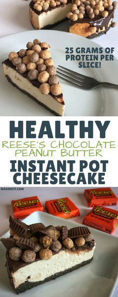 A healthy instant pot cheesecake made with Reese's Puffs and real chocolate that packs 25 grams of protein per slice with only 281 calories. via @masonfitdotcom