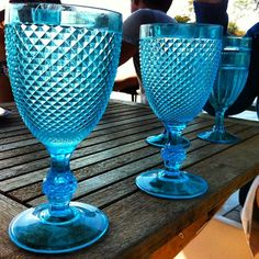 Cool blue plastic wine glasses. (at Tent Island)