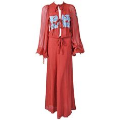 Pre-owned 1970's Thea Porter Couture Cinnamon Cotton Voile Butterfly... ($2,200) ❤ liked on Polyvore featuring dresses, day dresses, maxi dresses, red renaissance dress, maxi dress, layered maxi dress, tea length dresses and butterfly maxi dress