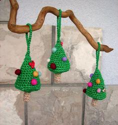 Set of 3 christmas trees Crocheted Christmas
