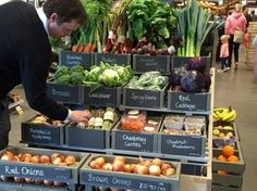 Fruit and veg display at Gloucester Services. Review on the blog.