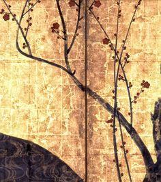 Detail. RED AND WHITE PLUM BLOSSOMS (National Treasure). Japanese folding screen. Ogata Korin. 18th c. - Edo period, 18th c. MOA Museum of Art