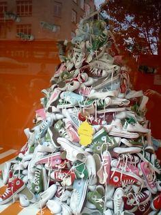 árbol de navidad de zapatos