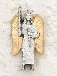 Catholic Gift Two Tone Silver Base with Gold Tone Archangel St Saint Michael 1 Inch Lapel Pin -- Read more  at the image link.