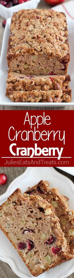 Apple Cranberry Bread - A cinnamon spiced quick bread filled with apples and fresh cranberries and topped with a pecan streusel. via @julieseats