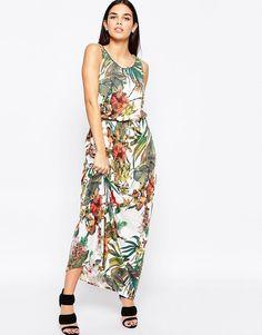 Image 1 ofClub L Tie Waist Maxi Dress In Botanical Print