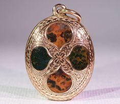 Antique Victorian Agate Set Locket-Backed Pendant, 15k Gold Circa 1875