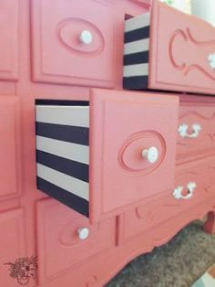 Striped dresser drawers- Love these! Beautiful French Provincial Dresser Makeover by lelia
