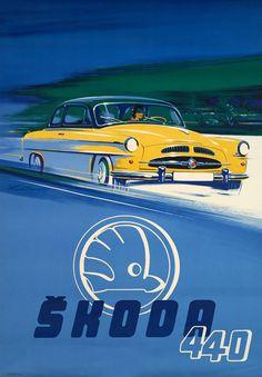 ŠKODA 440 great car from Mlada Boleslav, Czechia Vintage Travel, Vintage Ads, Vintage Posters, Classic Motors, Classic Cars, Automobile, Ad Car, Car Posters, Car Advertising