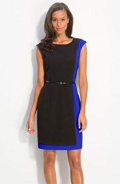7ed62c4bde3f Calvin Klein Belted Colorblock Sheath Dress