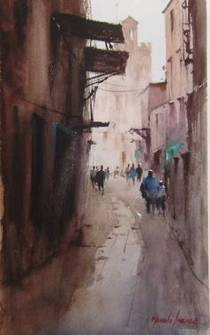 Manolo Jiménez Watercolor Artists, Watercolour Painting, City Scene, Great Paintings, Urban Sketching, Elements Of Art, Cityscapes, Contemporary Paintings, Great Artists