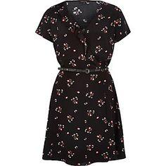 Black floral print wrap dress